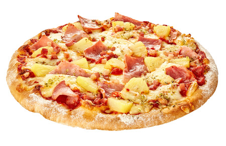 pizza base: Delicious Hawaiian pizza with ham and pineapple Stock Photo
