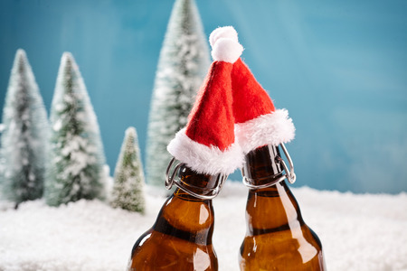 cooled: Salut! Two beer bottles saying cheers. Fresh draught lager beer cooled well on winter background.