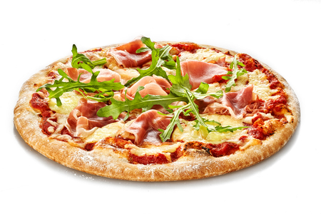 pizza base: Pizza with ham and rocket salad isolate on white background