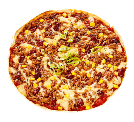 pizza pie: Overhead view of pizza pie made with beans, corn, white cheese and meat sauce Stock Photo