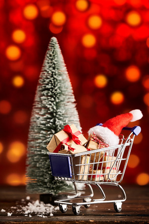 Festive christmas advertising with shopping cart for advertisement