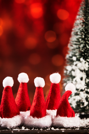 x mas hats in a row for christmas advertising