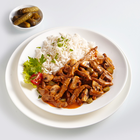 Beef Stroganoff or zurich Geschnetzeltes means meat cut into strips. Germany and austria kitchen menu.