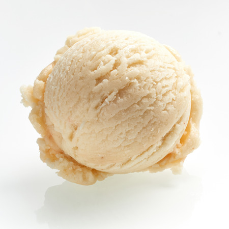 Scoop of tangy lemon sorbet or gelato ice cream viewed close up from the top over white in square format showing the texture