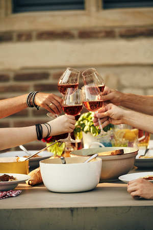 Young friends clinking wineglasses in a toast as they enjoy a meal of fresh spring salad and Italian pasta outdoors in the sunshine Stock Photo