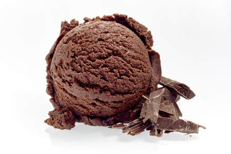 Close Up Still Life of Single Scoop of Rich Chocolate Ice Cream with Chocolate Shavings on White Background