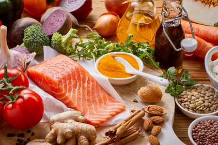 marchew: Wide selection of healthy food ingredients with fresh salmon