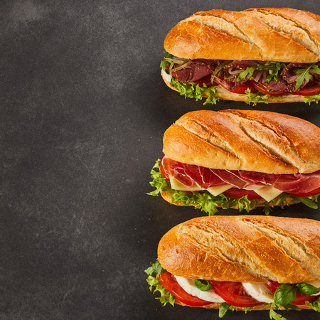 Three different types of gourmet sandwiches with copy space on side. Cheese, pepperoni and roast beef slices. Stock Photo
