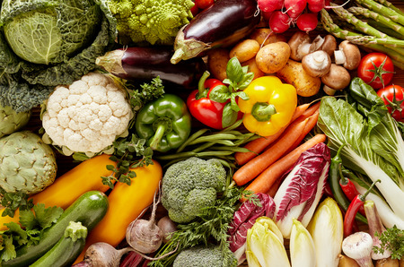 Pile of great variety of fresh organic vegetables. Full frame food background concept Stock Photo