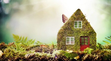 Eco friendly house concept with moss covered model home outdoors in a garden with copy space amongst green ferns 写真素材