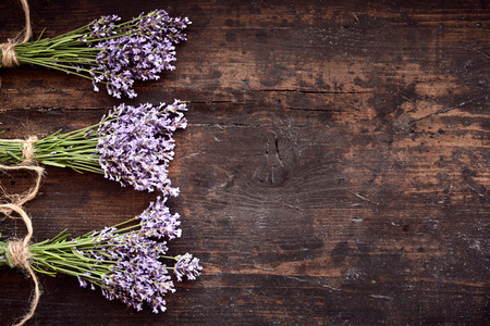 Bunches of healthy fresh aromatic purple lavender arranged in a line as a side border over rustic textured vintage wood with copy space