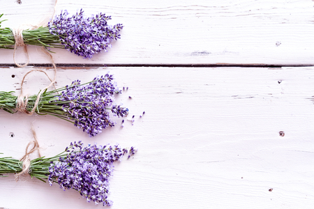 Border of bunches of aromatic purple lavender arranged to the side on rustic painted white wood with copy space viewed from bove
