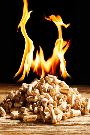Burning pile of natural wood pellets in a concept of renewable alternative energy to save the environment