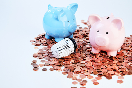 Two piggy banks and thermostatic radiator valve on heap of saved coins