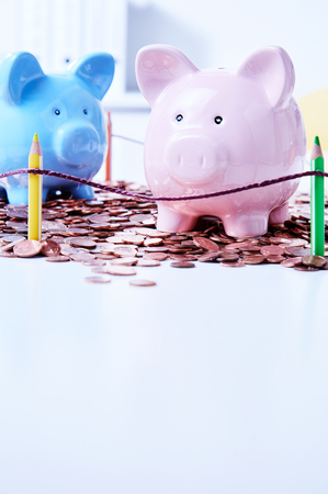 Two piggy banks standing on pile of coins behind colored pencils fence