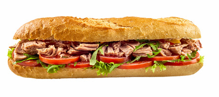 Baguette sandwich with tuna fish, tomato and salad isolated on white background