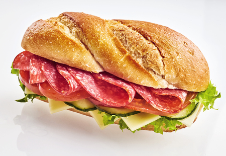 Fresh sandwich with salami, cheese, cucumber and green salad against plain background