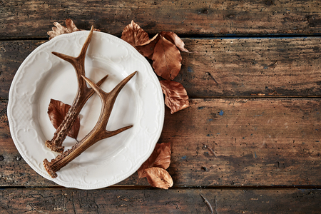 Plate with deer antlers and dry leaves on wooden table Stock Photo