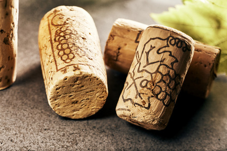 Arrangement of wine corks in close-up view