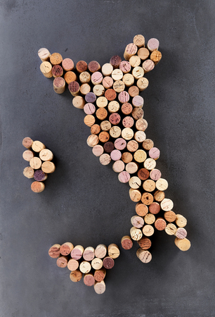 Wine corks arranged in shape of Italy or Apennine Peninsula
