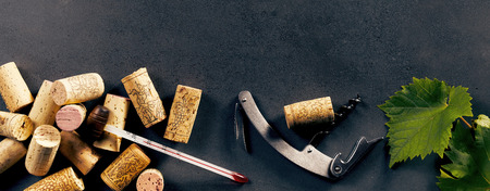 Rustic wine making equipment including corks, thermometer, cork screw and green grape leaves isolated on a black background with copy space in a panorama aspect ratio.