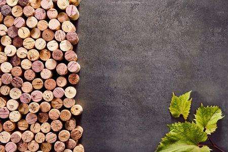 Multiple corks on a textured slate background forming a side border with green leaves in the bottom right corner and copy space above Stock Photo