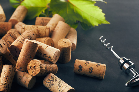 Bunch of wine corks with corkscrew and grape leaf in background