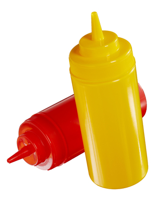 Blank unlabelled red and yellow plastic ketchup and mustard bottles for takeaway foods isolated on white with copy space
