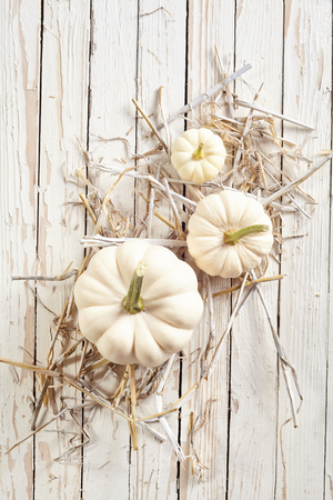 High angle view of three white pumpkins with straw against plain wooden background Stock Photo