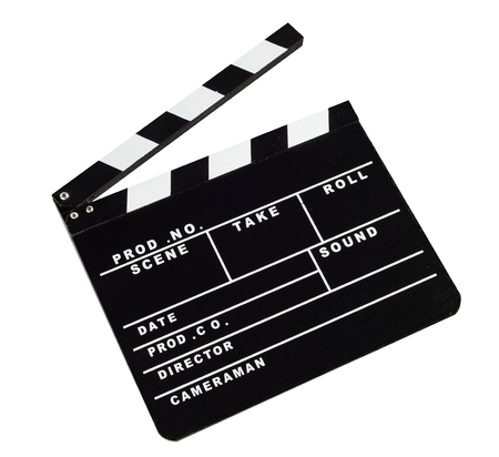 Open film slate clapboard isolated against white background 版權商用圖片