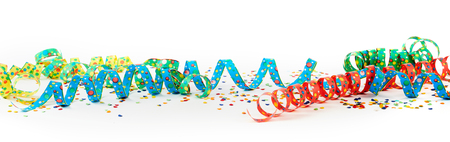 Carnival ribbons with confetti against white background Standard-Bild