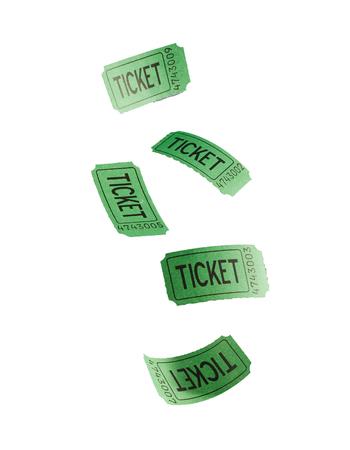 녹색 비행 티켓 흰색 배경에 대해 격리 스톡 콘텐츠