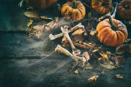 Halloween concept of bones, pumpkins among dry autumn leaves against wooden background Reklamní fotografie