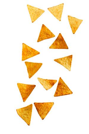 Nachos corn chips isolated against white background Reklamní fotografie - 89281376