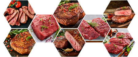 Collage of hexagonal shaped composition with different kinds of meat