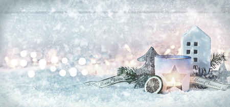White winter Christmas banner with falling snowflakes, a decorative pine still life