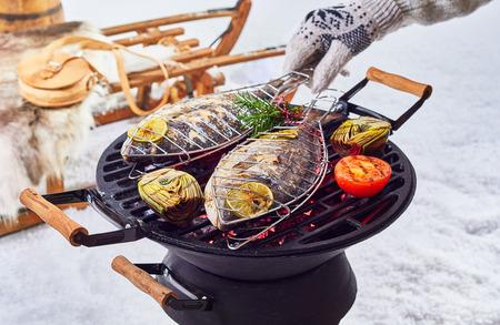 석탄 위에 그들을 돌려 낀 손으로 신선한 흰 눈에 야외에서 겨울 바베큐를 통해 굽고 두 전체 물고기 스톡 콘텐츠