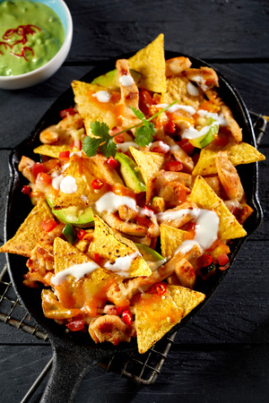 High angle view of chicken tortilla nachos with cream sauce