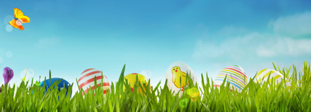 Spring banner with colorful striped and patterned Easter eggs in a meadow nestling in the fresh green grass with a butterfly and purple crocus flower against a blue sky with copy space