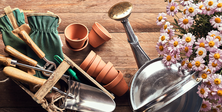 Gardening theme with flowers, pots, watering can and other tools