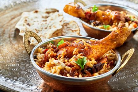 Traditional Arabic food bowls kabsa in close up Stockfoto