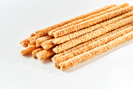 Bunch of grissini breadsticks against white background 스톡 콘텐츠 - 101285507