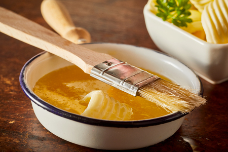 Baking food preparation scene with melted butter in a pan as an ingredient for cakes, bbq sauces and other cooking expriences.