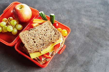 School lunch box with fresh healthy fruit, veggies and wholegrain cheese and tomato sandwich on a slate background with copy space