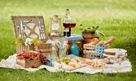 Blanket with picnic food set on green grass in garden