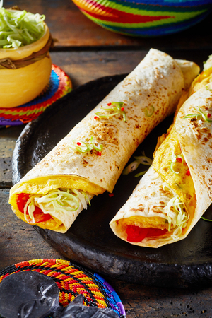 Tasty Ugandan street food with two vegetarian Rolex Rolls made from egg omelette and diced fresh tomatoes and cabbage wrapped in a chapati Stock Photo