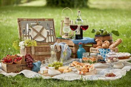 Gourmet picnic lunch for two in a lush green park with bread rolls, fresh berries, assorted cheese meat kebabs, pickles and red wine in stylish glasses on a hamper Stock Photo