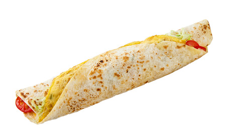 Traditional tasty African rolex roll wrapped in chapati flatbread against white background