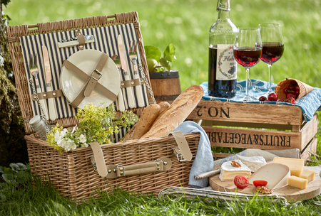 Vintage style romantic summer picnic for two on lush green grass with a wicker hamper, French baguettes, assorted cheeses and red wine in stylish glasses