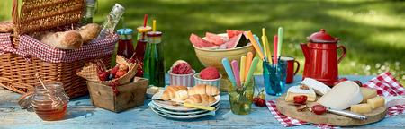 Panorama banner with a healthy summer picnic laid out on a garden table with assorted fresh fruit, croissants, honey, cheese bread and soft drinks with ice cream dessert Stock Photo